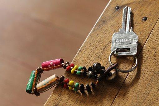 Keychain, Key, Keyring, Chain, Bead, Beads, Table, Wood
