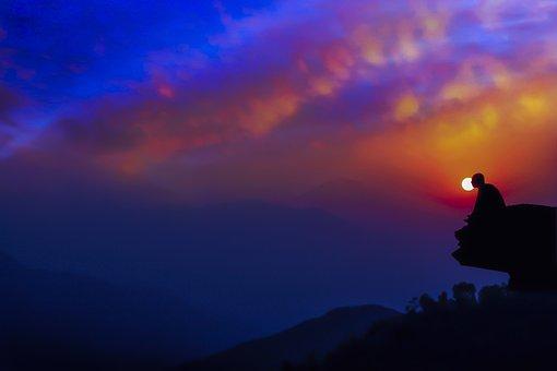 Meditation In Dusk, Twilight, Sunset, Meditation