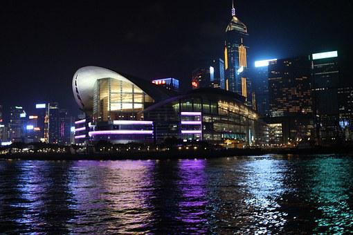 Hong Kong, Central, Night View, Victoria Beach