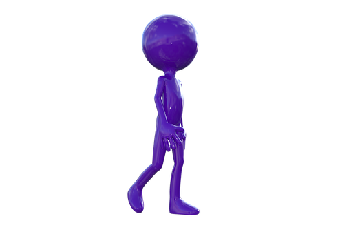 Walk, Stroll, Walking, Strolling, Purple Man, 3d