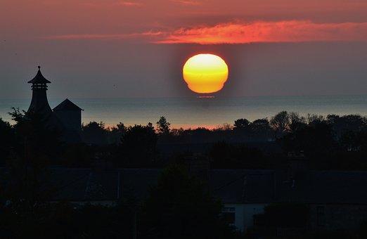 Sunrise, Scotland, Brora, Distillery, Sea, Scottish, Uk