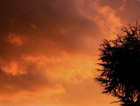 Sky, Orange, Warm Yellow, Warm Gold, Shadows, Cloudy