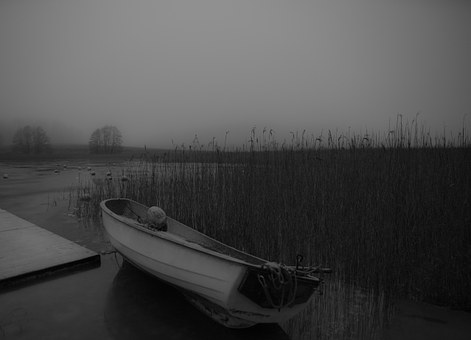 Sea, Reed, Boat, Echo, Bridge, Sweden, Water, Ice