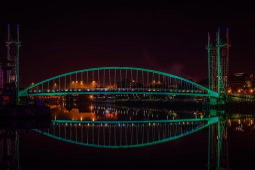 Bridge, Manchester, Reflection, Architecture, Water