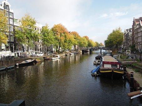 Amsterdam, City, Water, River, Blue, Boat, Ship, Beach