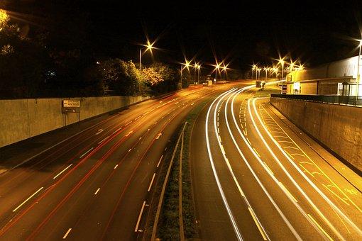 Road, Lights, Night, Motion, Long Exposure, At Night