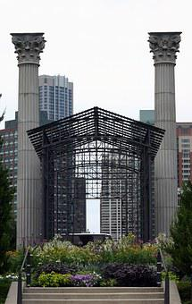 Chicago, Millenium Park, Lurie, Stairs, Pillars