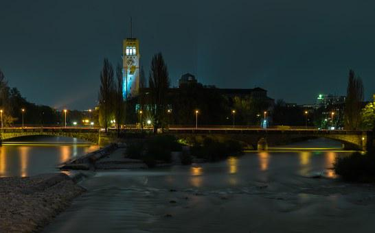 German Museum, Night, Bridge, Munich, Lighting, Lights