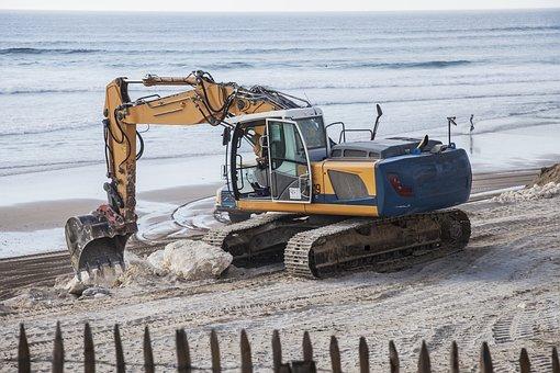 Crane, Truck, Sea, Work, Sand, Consolidated, Pierre