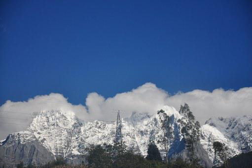 Snow Mountain, In Yunnan Province, Cloud, Landscape