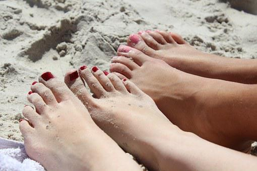 Feet, Girl, Nail Varnish, Ten, Pink, Red, Sand, Beach