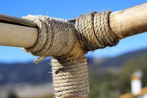 Rope, Beams, Wood, Construction, Union, Rustic