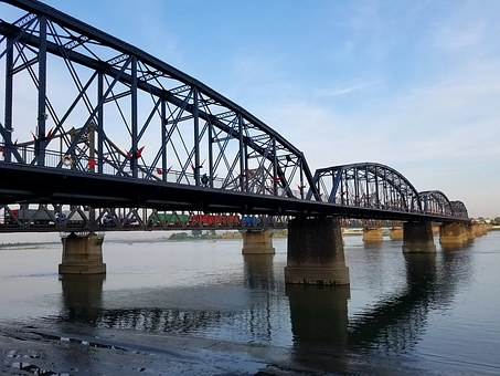 The Yalu River, The Scenery, Dandong, Bridge, Urban