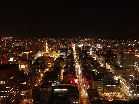 Night View, Night, Japan, Sapporo, Building, Tower
