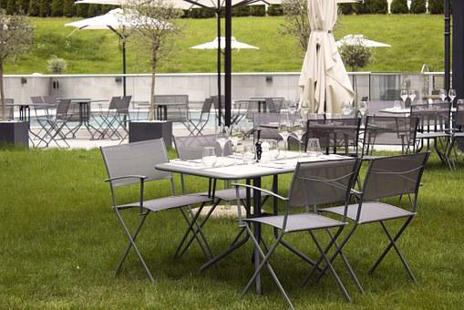 Restaurant, Table, Chairs, Grass, Lunch, Setting