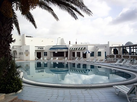 Swimming Pool, Palm Tree, Chairs, Tunisia