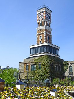Japan, Sapporo, Clock Tower, Park, Flowers, Clock