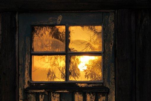 Door, Mirror, Sunrise, Window, See, Wooden House