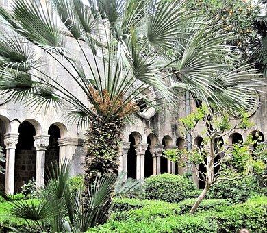 Dubrovnic Croatia, Court Yard Garden, Arches, Outdoors