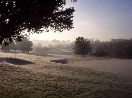 Cold, Frozen, Landscape, Golf Course, Purley Downs