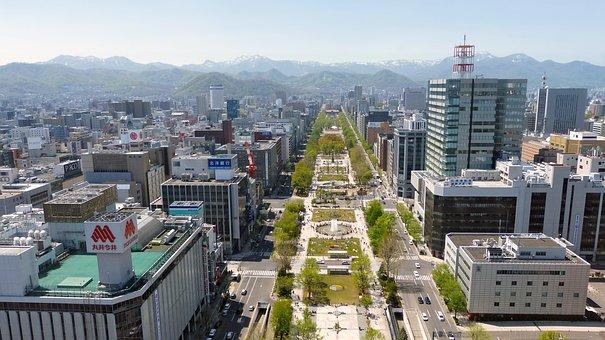 Japan, Sapporo, Panoramic View, Urban, Architecture