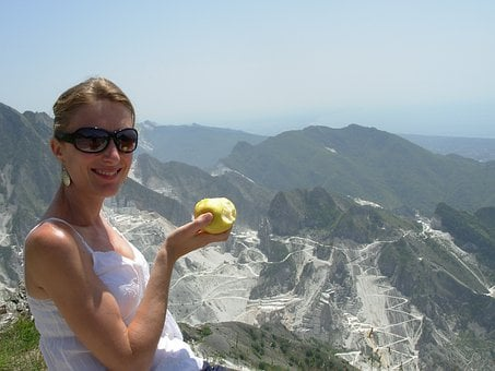 Apple, Woman, Marble, Carrara, Smile, Mountains, Quarry