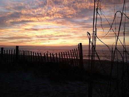 Sunset, Beach, Fence, Night, Romantic, Peaceful, Beauty