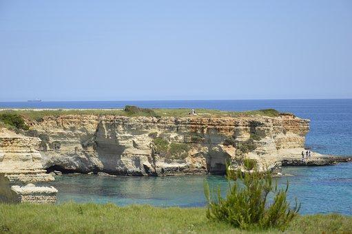 Rocks, Landscape, Sant Andrea, Italy, Sea, Summer, Rock