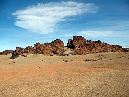 Rocks, Desert, Sky, Cloud, Sand, Igneous Rock