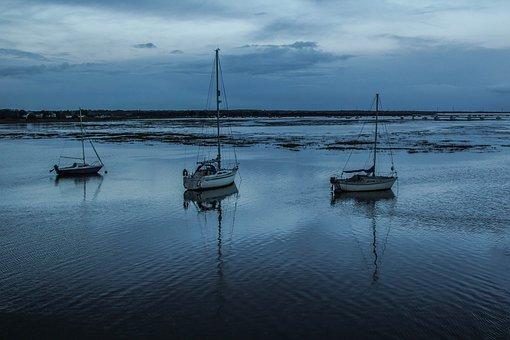 Keyhaven Bay, Ships, Sea, Ocean