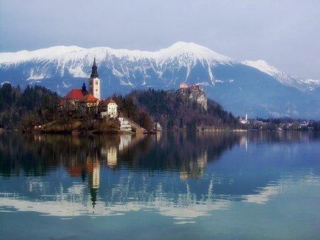 Blejski Otok, Slovenia, Mountains, Snow, Lake, Water