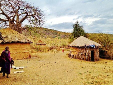 Massai Land, Tanzania, Boma, Africa, Village, Hut