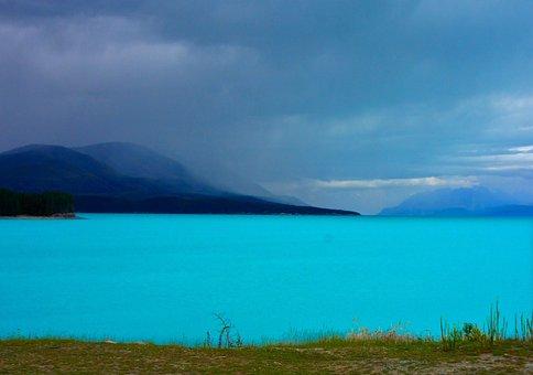 New Zealand, Lake Pukaki, Mountains, Water, Lake