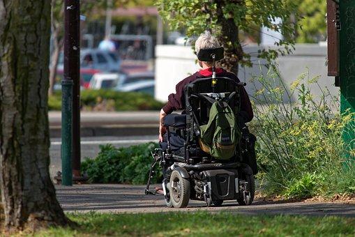 Motorized Wheelchair, Wheelchair, Elderly, Man