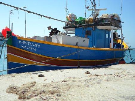 Fishing, Port, Malta, Marsaxlokk, Fishing Vessel, Boot