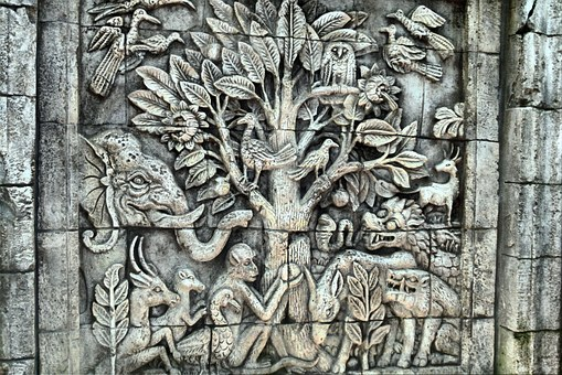Relief, Wall, Temple, Stone, Sculpture, Mythical, Flora