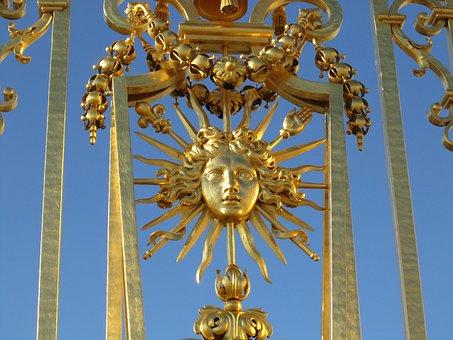Gate, Golden, Sun, Versailles, Sun King, Louis Xiv