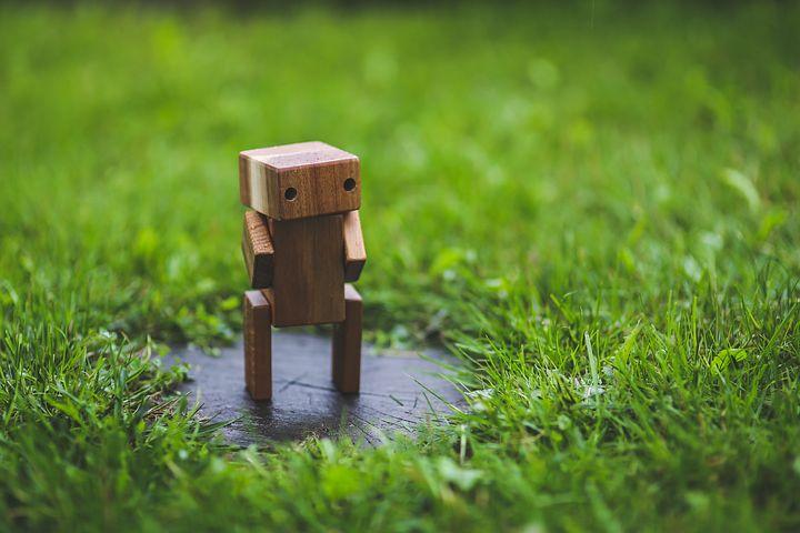 Wooden, Robot, Grass, Lawn, Green, Handmade, Diy