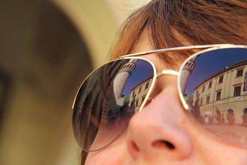 Sunglasses, Girl, Sopron Hungary, Reflection