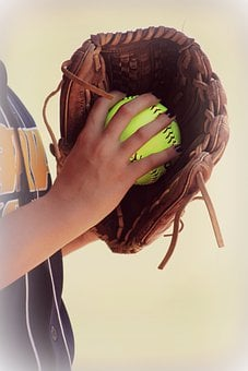 Softball, Leather, Glove, Recreation, Sports, Gloves
