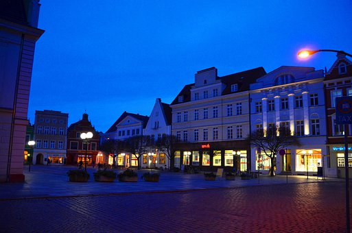 Market, Güstrow, Mecklenburg, Night, Marketplace