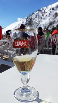 Beer, Mountains, Alpine, Stella Artois, Snow
