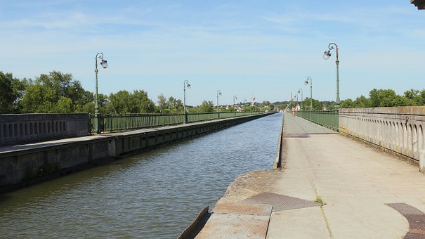 Aqueduct, Briare, Navigation, Water Courses, Sky, Blue