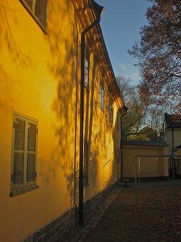 House Wall, Shadow, Tree, Långholmen, Stockholm