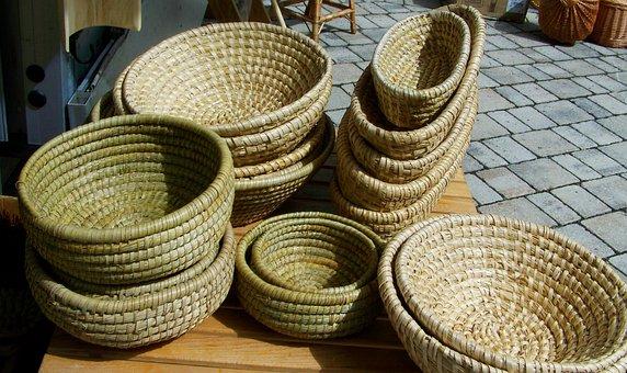 Straw Basket, Wicker Basket, Handmade Product