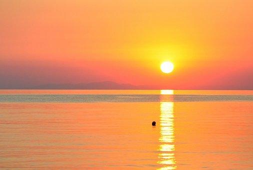 Thassos, Makryammos, Sunrise, Sea, Sun, Evening