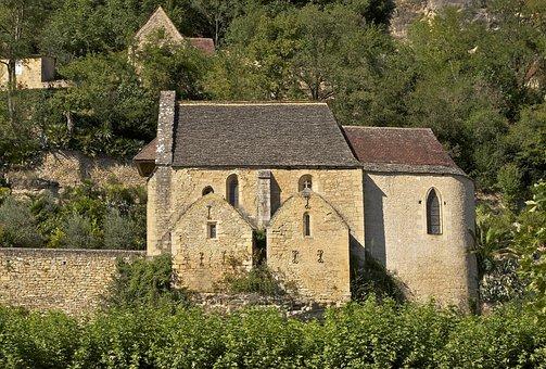 La Roque-gageac, France, Landscape, Trees, Buildings