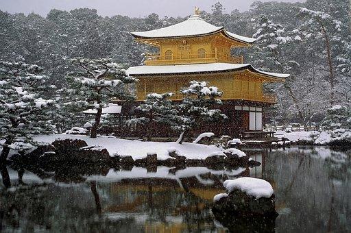 Japan, Temple, Snow, Snowing, Religion, Faith, Winter