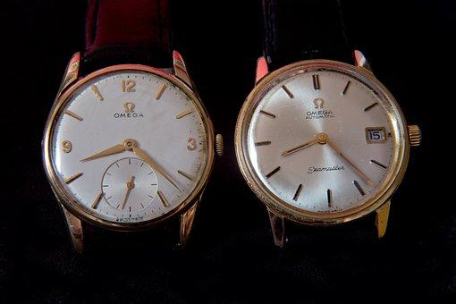 Wrist Watches, Old, Hard Worn, Gold Case