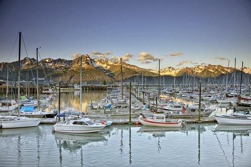 Seward, Alaska, Scenic, Mountains, Marina, Boats, Ships